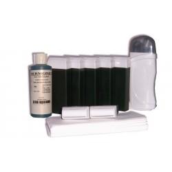 Kit d'épilation - 7 x 100 ml cire à épiler VERTE, bandes, huile