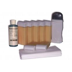 Kit d'épilation - 7x100 ml cire à épiler BLANCHE, bandes lisses, huile