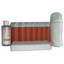 Kit d'épilation - 7x100 ml cire à épiler ROSE, bandes lisses, huile