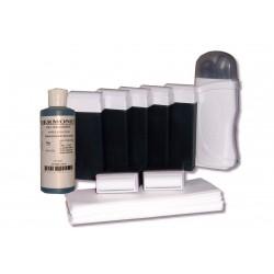 Kit d'épilation - 7x100 ml cire à épiler AZUR, bandes lisses, huile