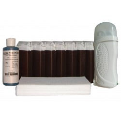 Kit épilation - 7x100 ml cire à épiler CHOCOLAT, bandes lisses, huile