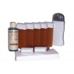 Kit épilation - 7x100 ml cire à épiler MIEL, bandes, huile